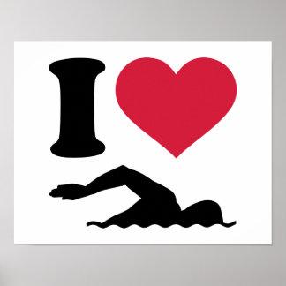 I love swimming swimmer poster