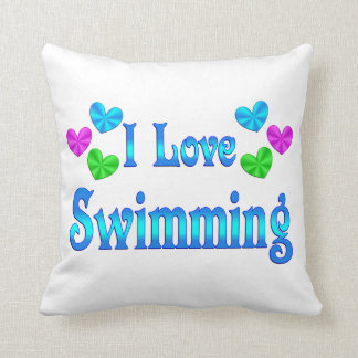 I Love Swimming Throw Pillow