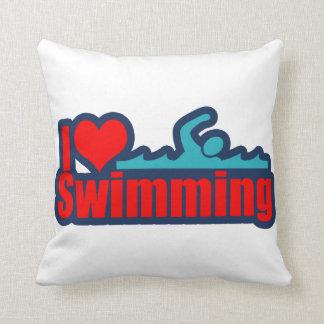I Love Swimming Throw Pillows