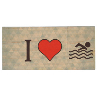 I Love Swimming Wood USB Flash Drive