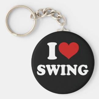 I Love Swing Basic Round Button Keychain
