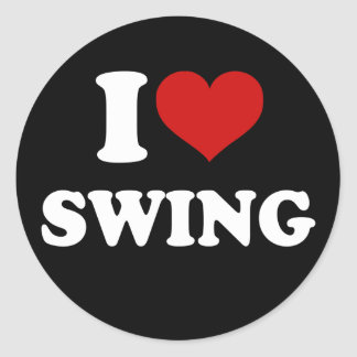 I Love Swing Classic Round Sticker