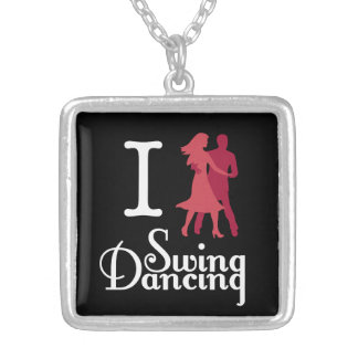 I Love Swing Dancing Silver Plated Necklace