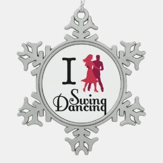 I Love Swing Dancing Snowflake Pewter Christmas Ornament