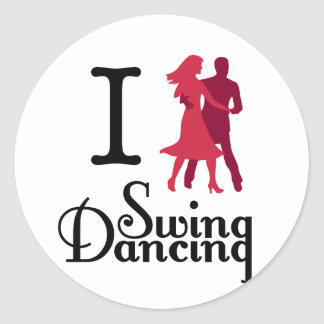 I Love Swing Dancing Classic Round Sticker