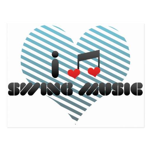 I Love Swing Music Post Card