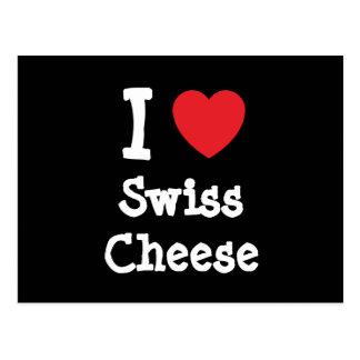 I love Swiss Cheese heart T-Shirt Postcard
