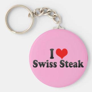I Love Swiss Steak Keychain