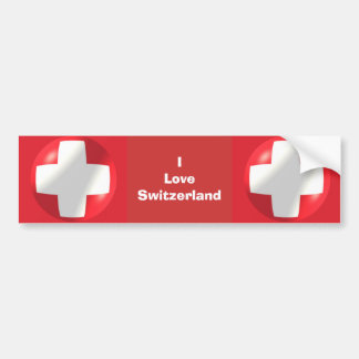 I Love Switzerland Bumper Sticker Swiss Flag