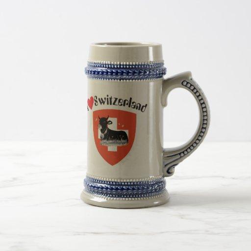 I love Switzerland cup 18 Oz Beer Stein