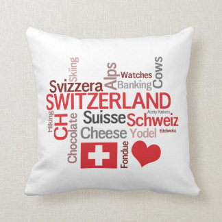 I Love Switzerland Funny Swiss Cliches Throw Pillow