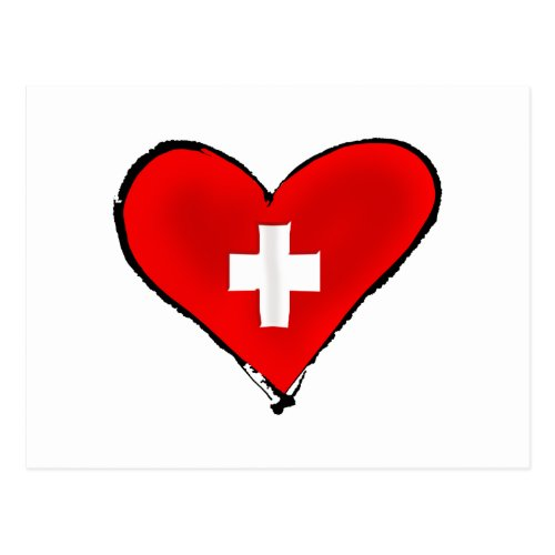 I love Switzerland Swiss flag heart design gifts Postcard