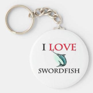 I Love Swordfish Basic Round Button Keychain