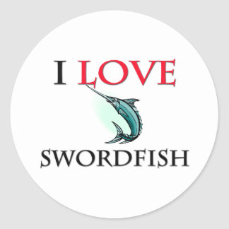 I Love Swordfish Classic Round Sticker