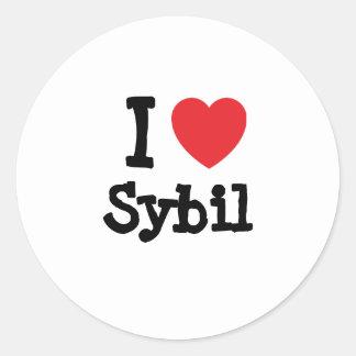 I love Sybil heart T-Shirt Round Stickers