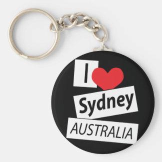 I Love Sydney Australia Basic Round Button Keychain