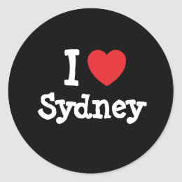 I love Sydney heart custom personalized Classic Round Sticker