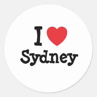 I love Sydney heart custom personalized Classic Round Sticker