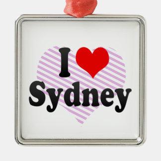 I love Sydney Square Metal Christmas Ornament