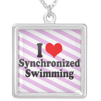 I love Synchronized Swimming Silver Plated Necklace