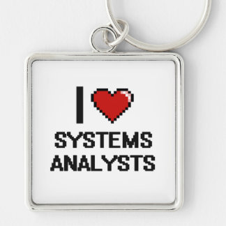 I love Systems Analysts Silver-Colored Square Keychain