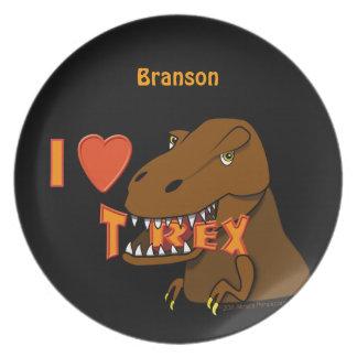 I Love T Rex Dinosaur Custom Name Kids Plate