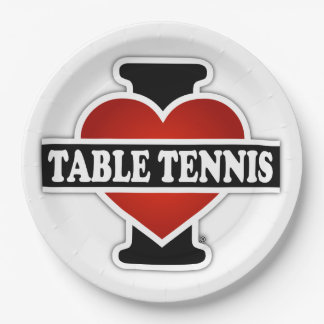 I Love Table Tennis Paper Plate