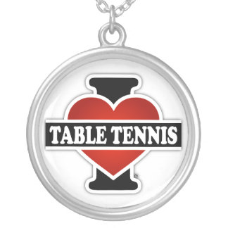 I Love Table Tennis Silver Plated Necklace