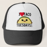 """I Love Taco Tuesdays Trucker Hat<br><div class=""""desc"""">&quot;I Love Taco Tuesdays&quot; taco lovers trucker hat with cute kawaii style taco character</div>"""