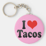 I Love Tacos Basic Round Button Keychain