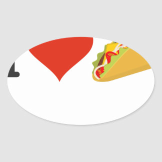 I Love Tacos For Taco Lovers Oval Sticker