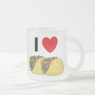 I Love Tacos Frosted Glass Coffee Mug