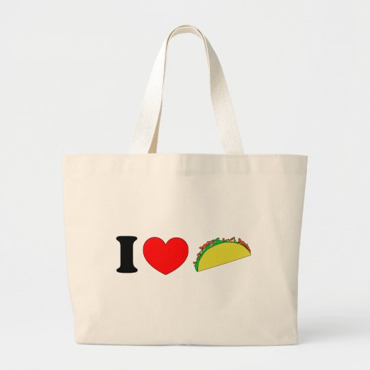 I Love Tacos Large Tote Bag