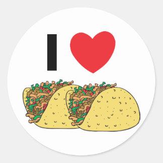 I Love Tacos Round Sticker