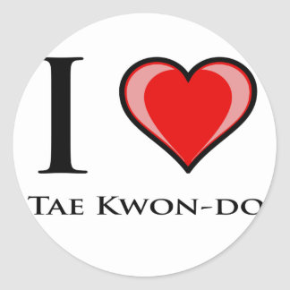 I Love Tae Kwon-Do Classic Round Sticker