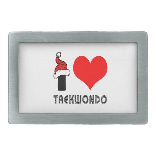 I Love Taekwondo Design Rectangular Belt Buckles