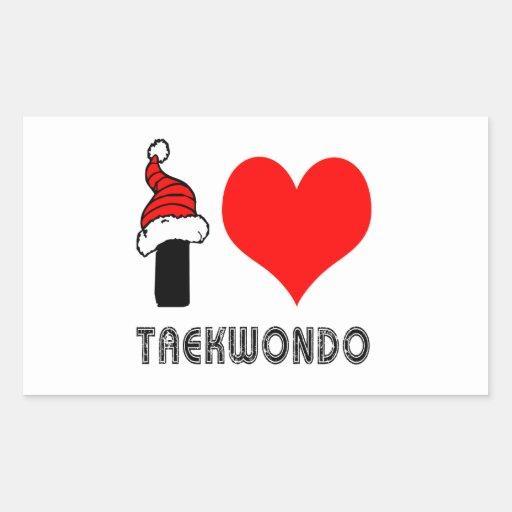 I Love Taekwondo Design Rectangular Sticker