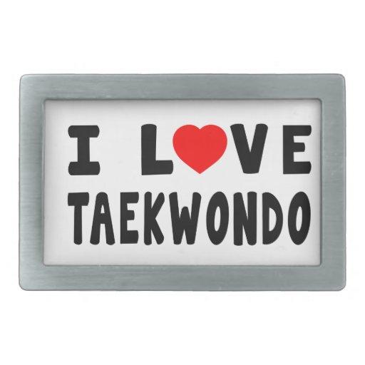 I Love Taekwondo Martial Arts Rectangular Belt Buckles