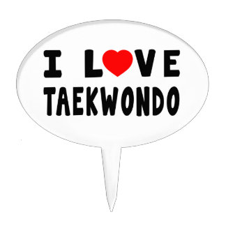 I Love Taekwondo Martial Arts Cake Toppers