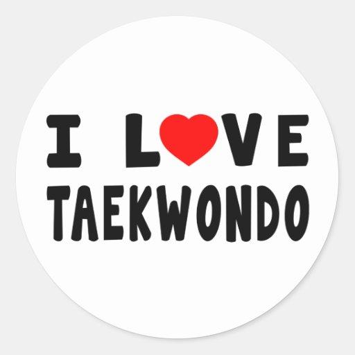 I Love Taekwondo Round Sticker