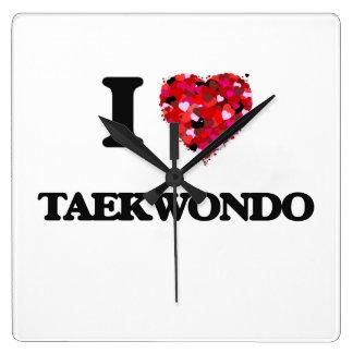 I Love Taekwondo Square Wall Clocks