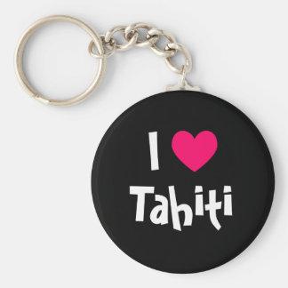 I Love Tahiti Basic Round Button Keychain