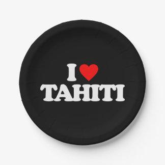 I LOVE TAHITI PAPER PLATE