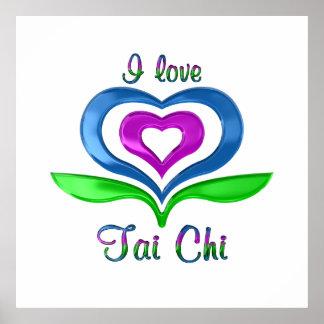 I Love Tai Chi Hearts Poster