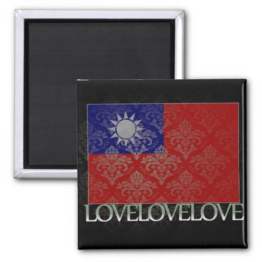 I love Taiwan Cool 2 Inch Square Magnet