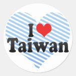 I Love Taiwan Round Sticker