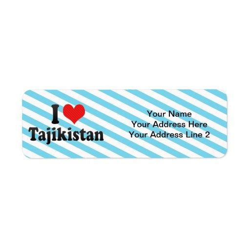 I Love Tajikistan Custom Return Address Labels