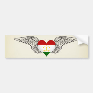 I Love Tajikistan -wings Car Bumper Sticker