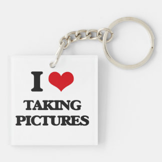I Love Taking Pictures Double-Sided Square Acrylic Keychain