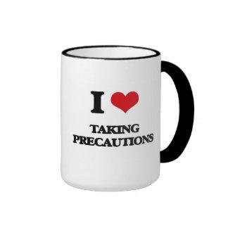 I Love Taking Precautions Ringer Coffee Mug